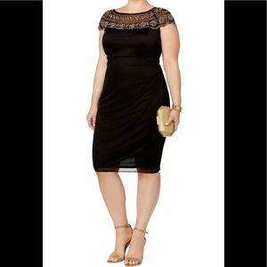 Formal Short Dress Size 14W Beaded Neckline Black